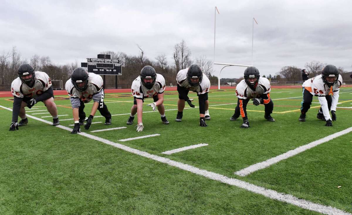 The Schuylerville High School football team offensive line; Jack Koval, left, Jack Nemar, Tyler Bowen, Lucas Woodcock, Ryan Peck and Caleb Max, right, are pictured during practice on Friday, Nov. 29, 2019, in Schuylerville, N.Y. The team plays Sunday in the Class B state final against Chenango Forks in Syracuse. (Will Waldron/Times Union)