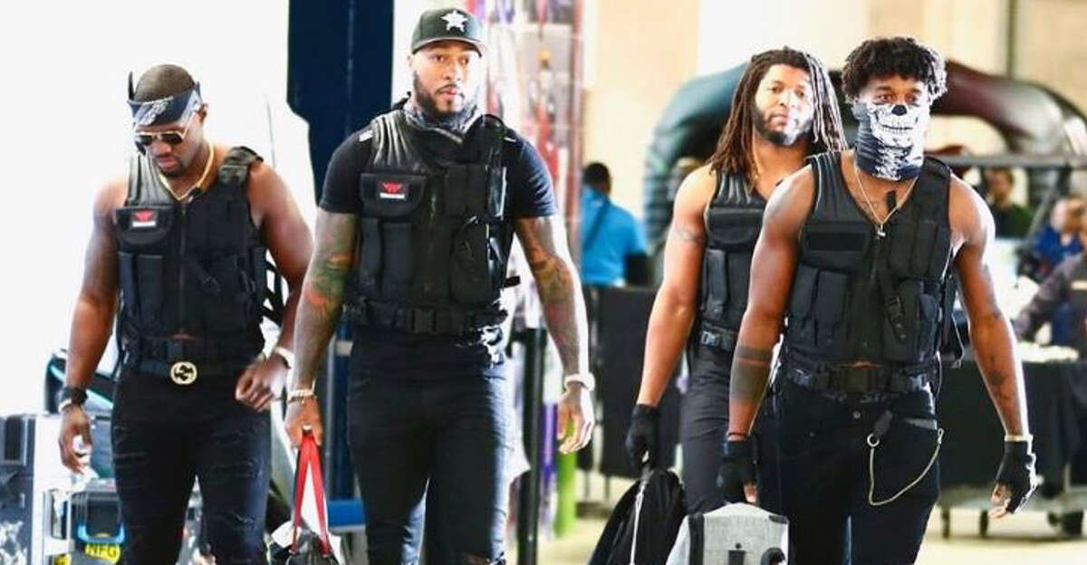 PHOTOS: A look at different costumes the Texans' inside linebackers have worn before each home game Texans linebackers before Sunday night's game against the Patriots. Check out all the different outfits the Texans linebackers have worn to home games this season ...