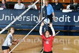 Manuela Nicolini (16), Kaylie Butts (14) and Laura Seeger (11) led Fairfield to the MAAC volleyball title and spot in NCAA tournament last season