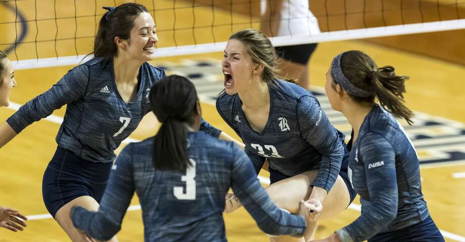 Rice setter Maddie Fowler (33) reacts after scoring a point in the 2019 Conference USA Volleyball Tournament Final Sunday, Nov 24, 2019, in Houston. Photo: Joe Buvid/Contributor