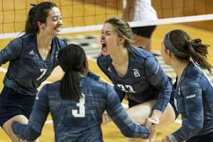 Rice setter Maddie Fowler (33) reacts after scoring a point in the 2019 Conference USA Volleyball Tournament Final Sunday, Nov 24, 2019, in Houston.