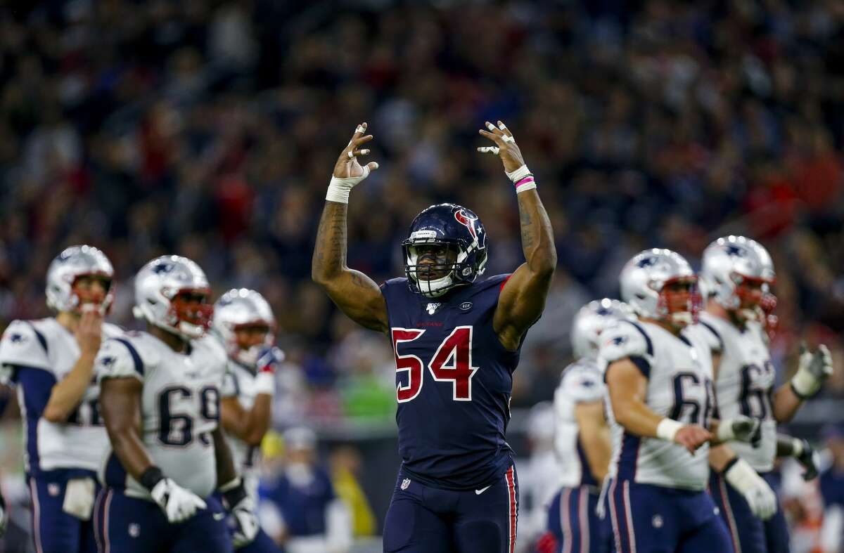 Houston Texans linebacker Jake Martin (54) appeals to the crowd during the fourth quarter of an NFL game at NRG Stadium Sunday, Dec. 1, 2019, in Houston.