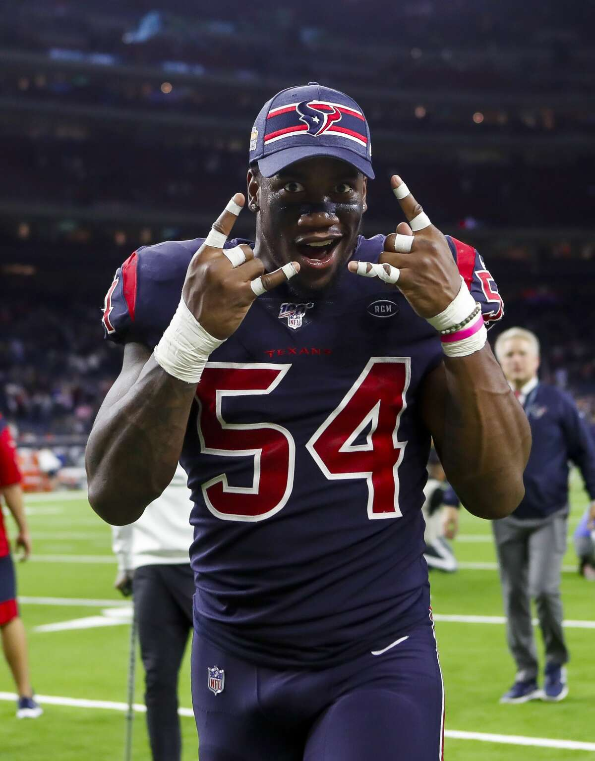 Houston Texans linebacker Jake Martin (54) celebrates following the Texans 28-22 win over the New England Patriots at NRG Stadium on Sunday, Dec. 1, 2019, in Houston.