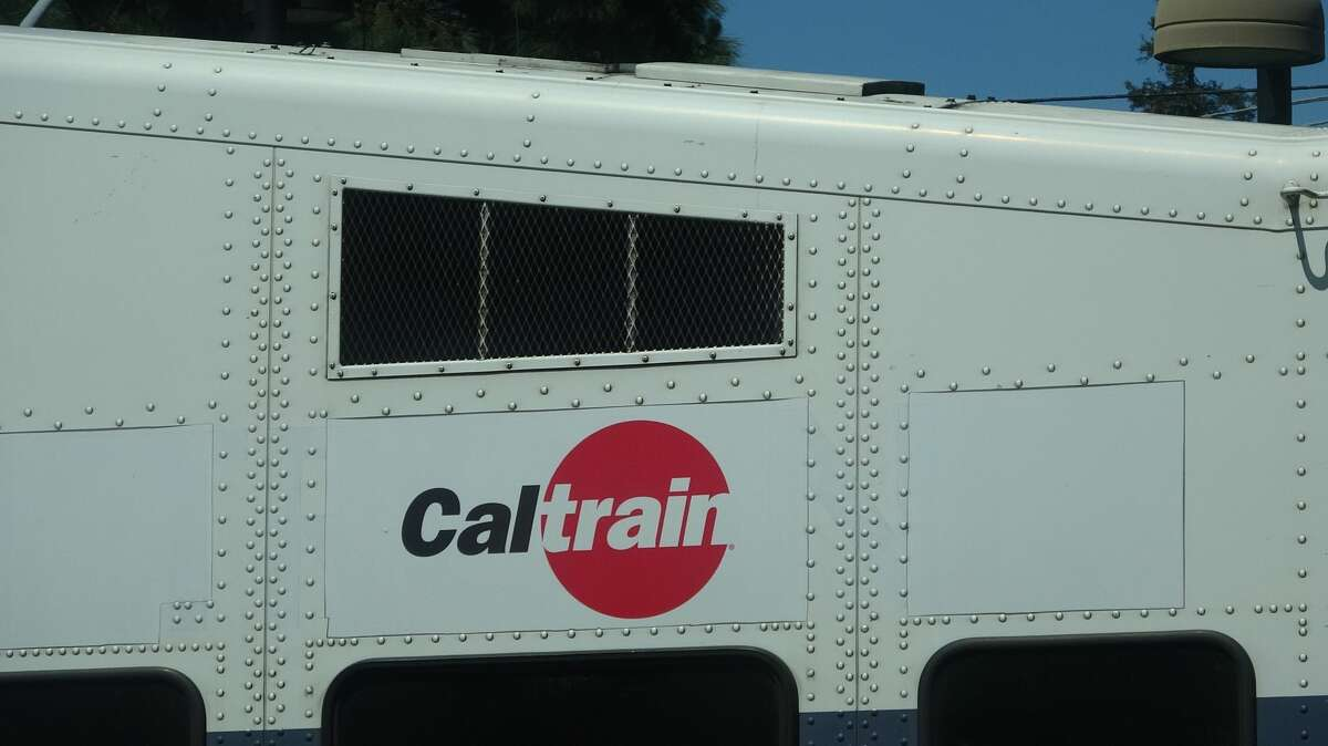Close-up of logo for Caltrain commuter rail system atop a two-level train car in Mountain View, California, May 3, 2019.