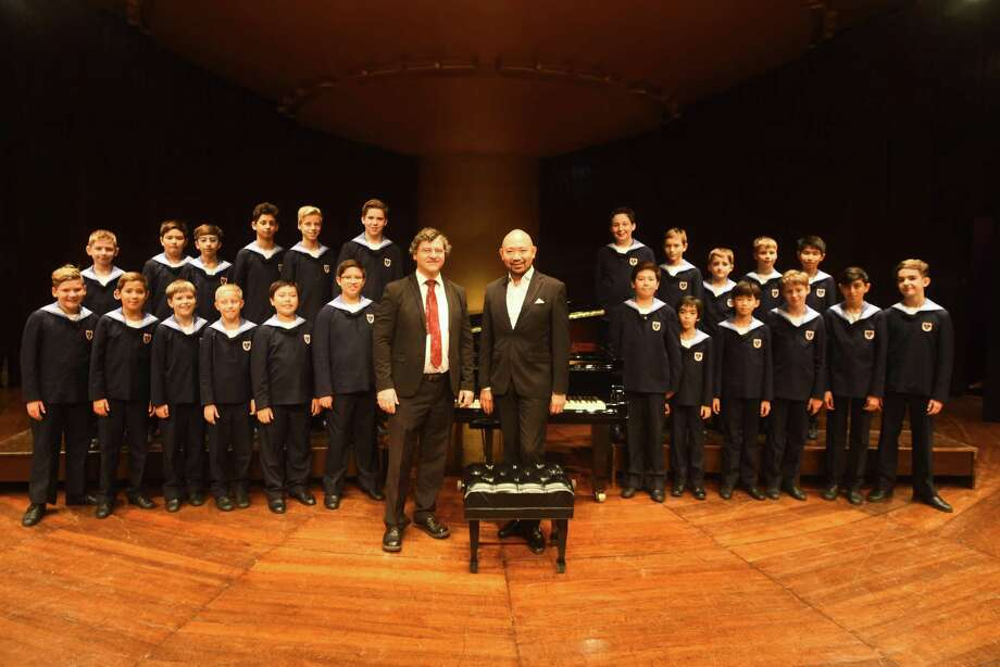 Gerald Wirth, president and artistic director, Jimy Chiang conductor and members of the Vienna Boys Choir during rehearsal a month ago in Mumbai, India. The choir is currently comprised of 23 boys aged 10 to 14, including students from Japan, Korea and Syria. Photo: Pratik Chorge/Hindustan Times / Getty Images / 2019 Hindustan Times