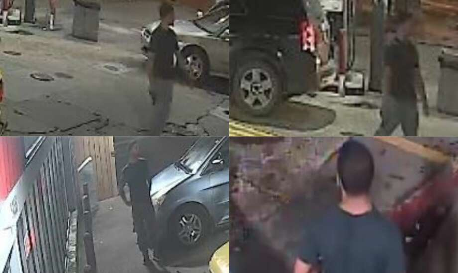 Surveillance video stills released by Houston police homicide detectives show a man wanted for shooting a 26-year-old dead outside a corner store late Saturday night. Anyone with information on the suspect is urged to call HPD's Homicide Division at 713-308-3600 or Houston Crime Stoppers at 713-222-TIPS (8477). Photo: Houston Police Department