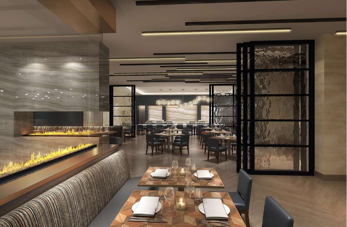 Renderings of a $35 million-dollar renovation at the Hilton Houston North in Greenspoint. The hotel estimates the overhaul of the bar, lobby and guest rooms will be completed in June 2020.