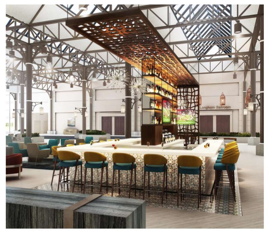 Renderings of a $35 million-dollar renovation at the Hilton Houston North in Greenspoint. The hotel estimates the overhaul of the bar, lobby and guest rooms will be completed in June 2020. Photo: Hilton Houston North