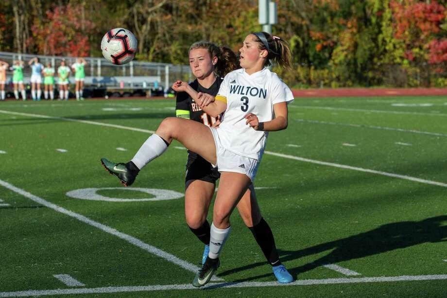 Wilton senior midfielder Sophie Sudano made the All-FCIAC girls soccer first team. Photo: Gretchen McMahon / For Hearst Connecticut Media