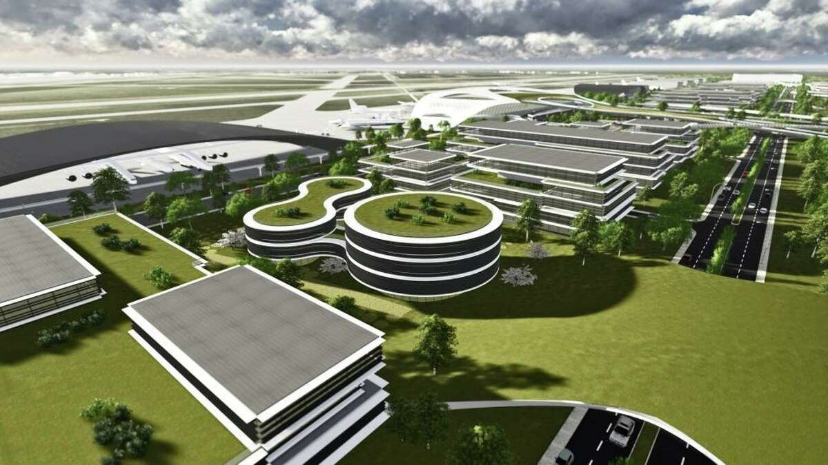 An initial phase of construction is providing the infrastructure for the Houston Spaceport, envisioned in this rendering for the Houston Airport System and Ellington Airport. A key part of that work is creating space for water detention so the spaceport doesn't increase the chance for flooding in area neighborhoods.