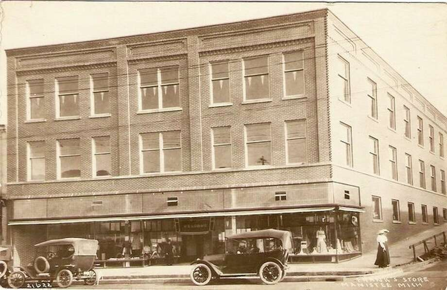 This 1920s photograph shows the Frank's Store that was located on River Street in the lower level of what today has the Jackpine Business Center located in the middle level.