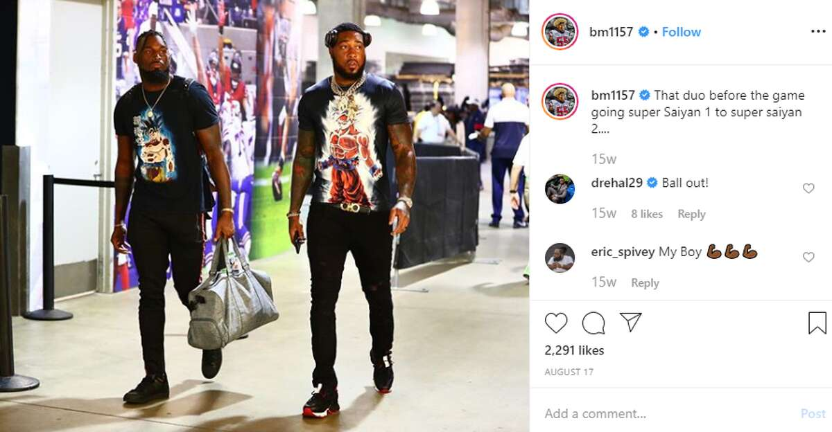 Aug. 17 vs. Lions (preseason) The Texans' inside linebackers have been wearing a costume before each home game this season. Here's what they've worn so far.