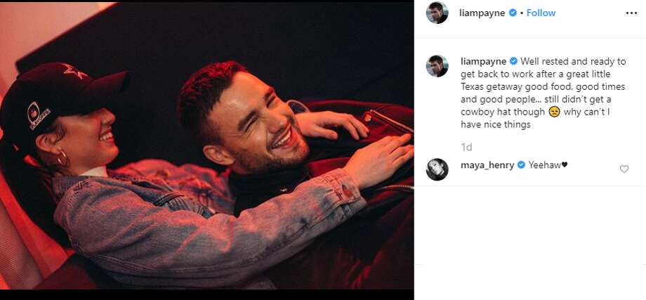 """Well rested and ready to get back to work after a great little Texas getaway good food, good times and good people... still didn't get a cowboy hat though why can't I have nice things,"" singer Liam Payne captioned this Instagram photo of him and Maya Henry. Photo: Instagram Screengrab"