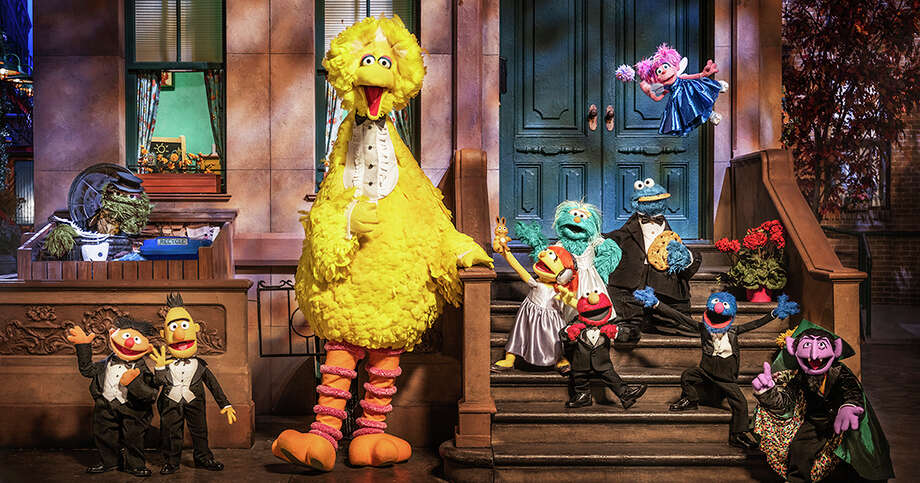 "From left, ""Sesame Street"" characters Oscar the Grouch, Ernie, Bert, Big Bird, Julia, Rosita, Elmo, Cookie Monster, Abby Cadabby, Grover and the Count. Photo: Photo For The Washington Post By Mark Mann / For The Washington Post"
