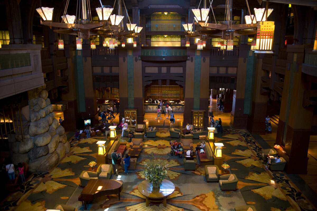 The elaborate lobby of the Grand Californian Hotel. It was based in part on the Arts-and-Crafts Swedenborgian Church in San Francisco, designed by Bernard Maybeck in the 1890s.