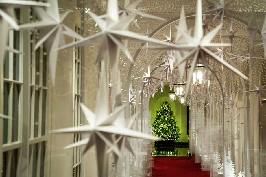 Christmas decorations, designed by first lady Melania Trump, are seen in the East Wing at the White House. Photo: Washington Post Photo By Jabin Botsford / The Washington Post