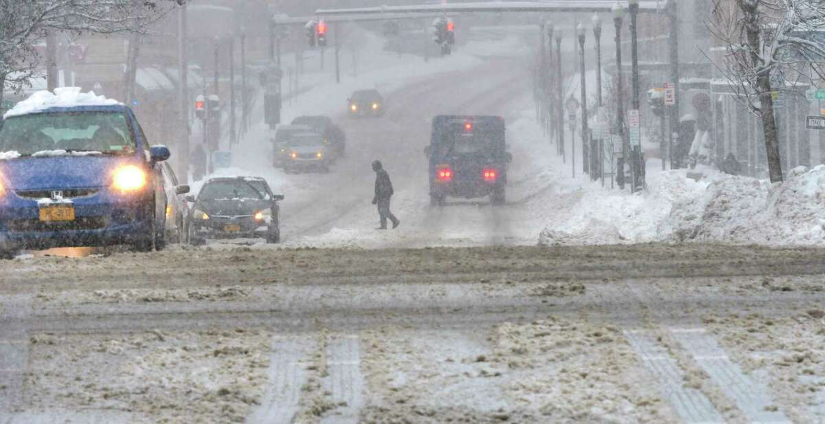 A view looking down New Scotland Ave. as more snow falls on Monday, Dec. 2, 2019, in Albany, N.Y. (Paul Buckowski/Times Union)
