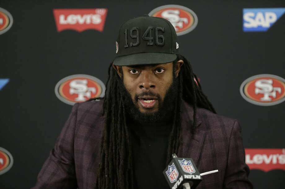 San Francisco 49ers cornerback Richard Sherman speaks to members of the media after loosing to the Baltimore Ravens in an NFL football game, Sunday, Dec. 1, 2019, in Baltimore, Md. Ravens won 20-17. (AP Photo/Julio Cortez) Photo: Julio Cortez / Associated Press