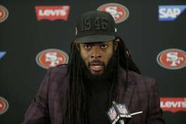 San Francisco 49ers cornerback Richard Sherman speaks to members of the media after loosing to the Baltimore Ravens in an NFL football game, Sunday, Dec. 1, 2019, in Baltimore, Md. Ravens won 20-17. (AP Photo/Julio Cortez)