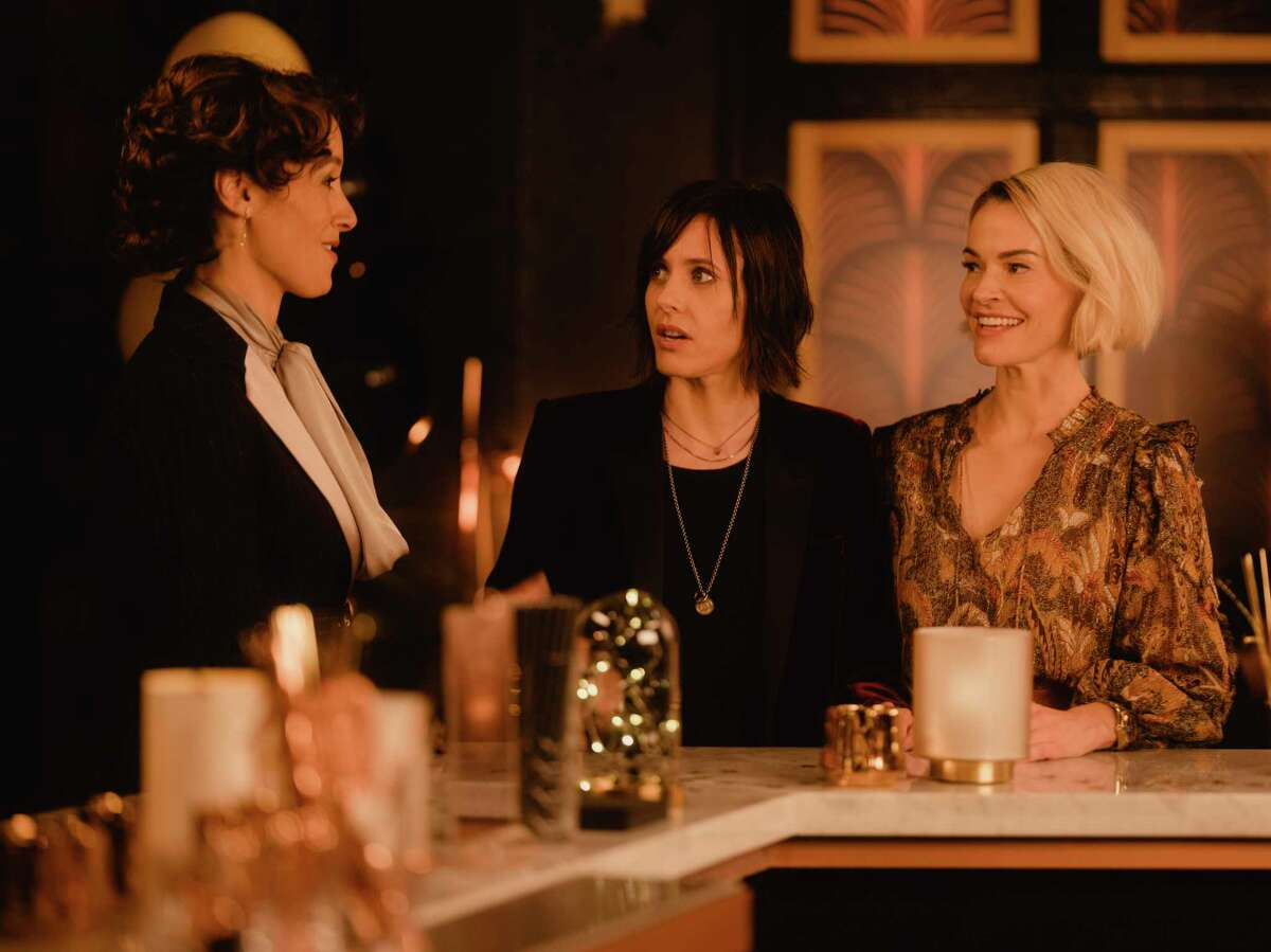 """Jennifer Beals, Katherine Moennig, and Leisha Hailey on the set of """"The L Word: Generation Q,"""" in Culver City, Calif., Oct. 29, 2019. """"The L Word"""" presented television's first cast of lesbian and bisexual characters in a way that felt fun - more aspirational than angsty. It's a quality the makers of the reboot hope to recapture, updated for a culture and a TV landscape that have changed seismically since 2009. (Rozette Rago/The New York Times) -- PHOTO MOVED IN ADVANCE AND NOT FOR USE - ONLINE OR IN PRINT - BEFORE DEC. 1 2019. --"""