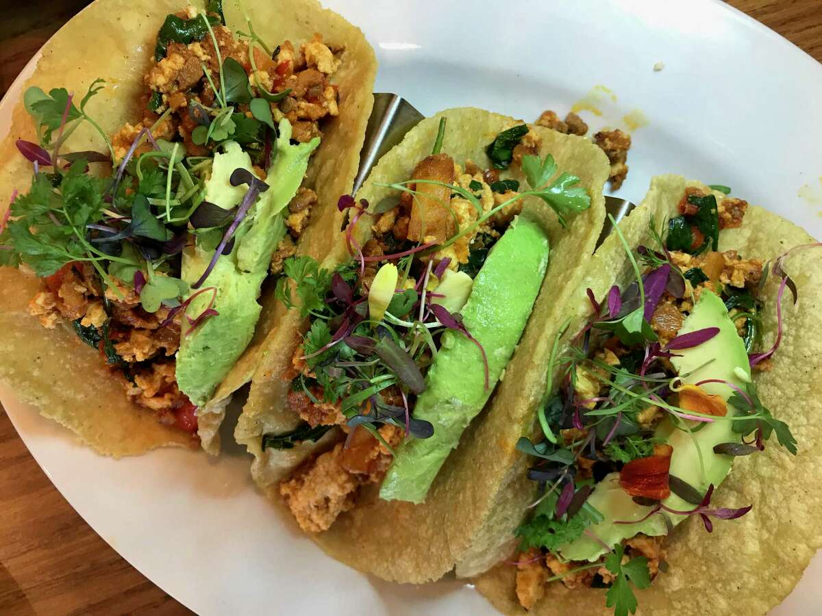 The vegan Brekkie Tacos at Marla Restaurant are filled with soy-based chorizo and scrambled tofu.