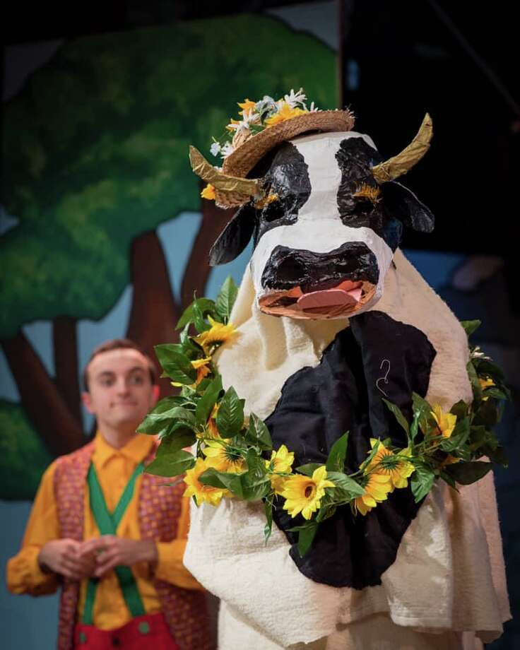 Danny Tarantino, as Silly Billy, and Daisy the Cow. Photo: Sherman Playhouse / Contributed Photo