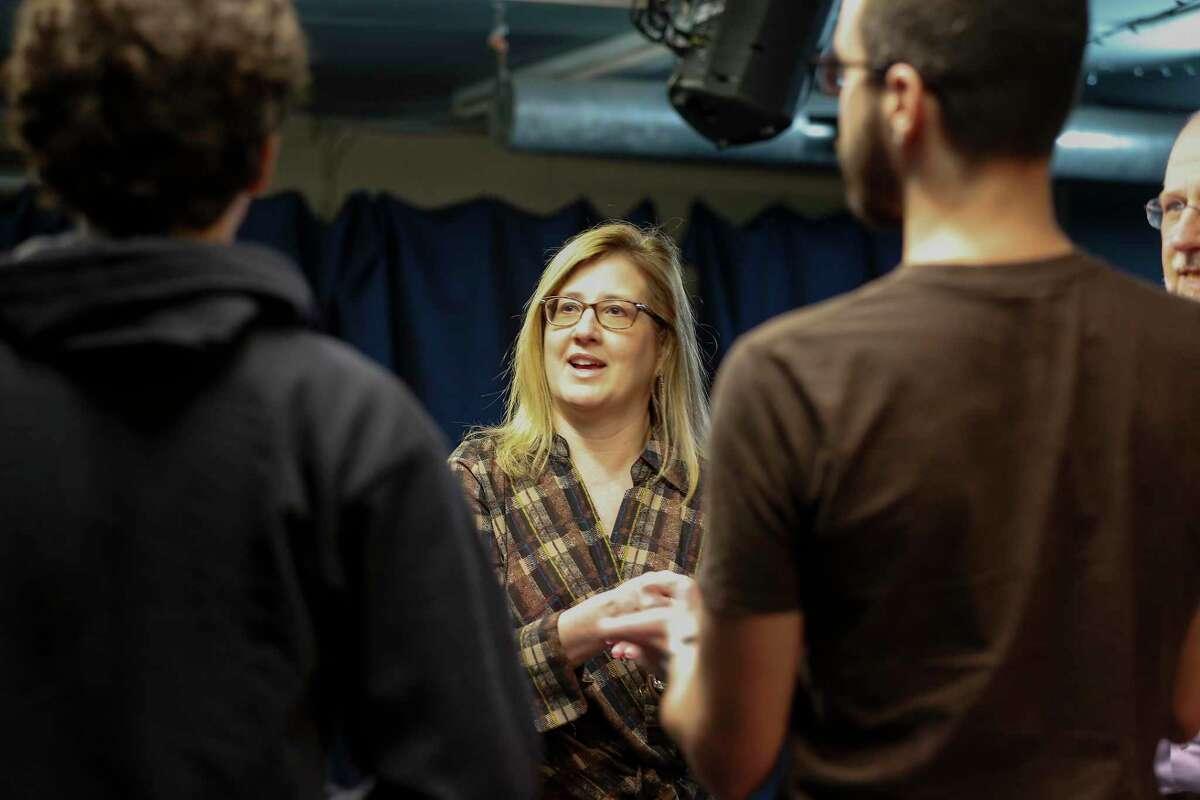 Dr. Jennifer Christner, dean of Baylor's medical school, warms up as she becomes an improv actor Saturday, Nov. 16, 2019, in Houston.