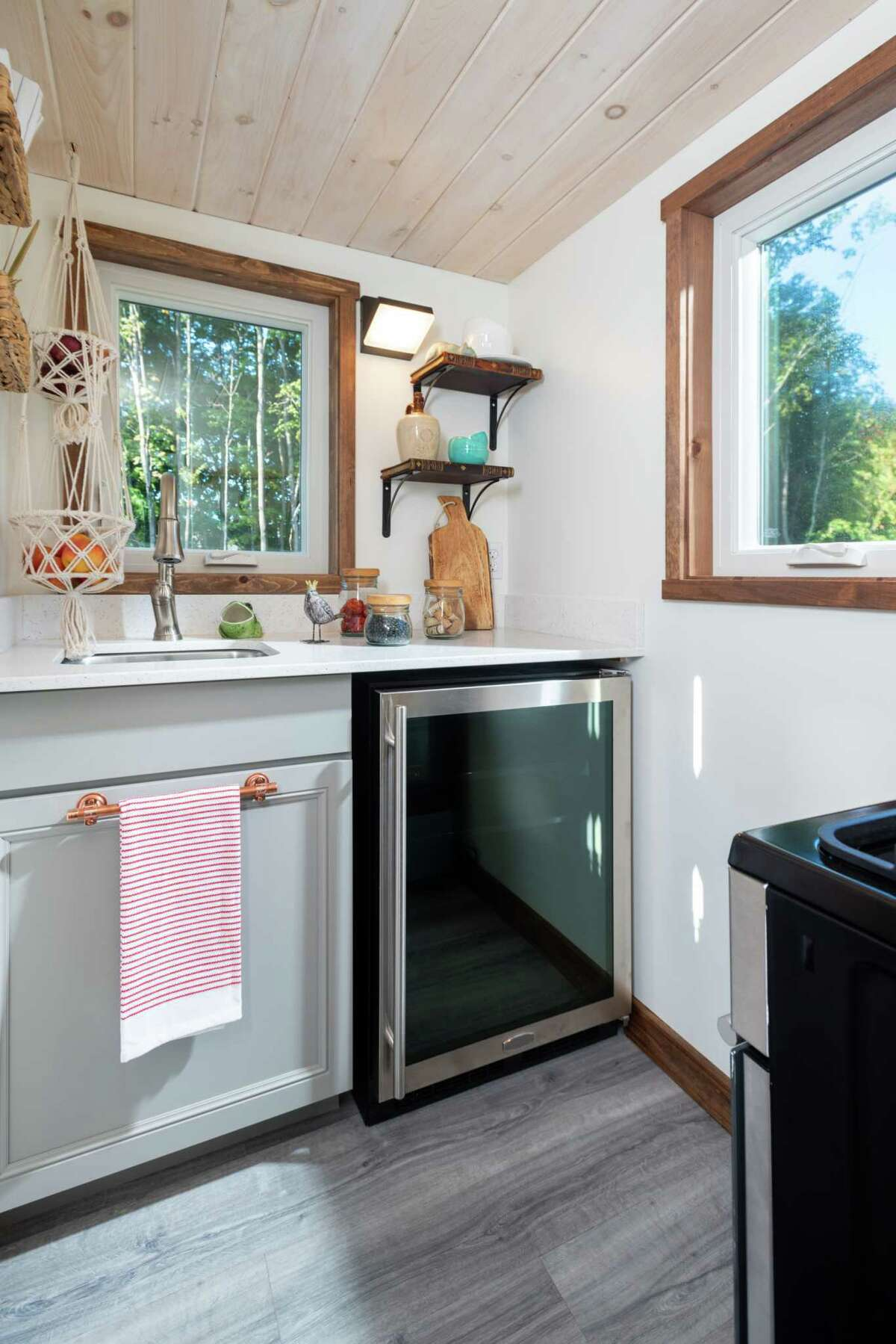 Students from Washington-Saratoga-Warren-Hamilton-Essex BOCES built a tiny house that's now up for auction. Here's a view of the kitchen.(Photo provided by WSWHE BOCES)