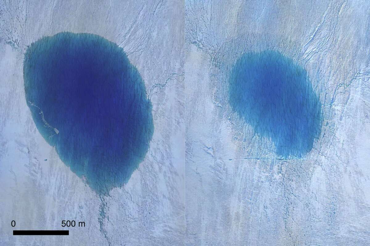 This is an aerial view of a lake on the Greenland Ice Sheet before (left) and after drainage (right).