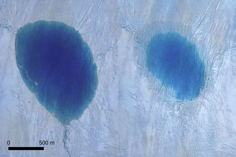 This is an aerial view of a lake on the Greenland Ice Sheet before (left) and after drainage (right). Photo: Thomas R. Chudley / Handout