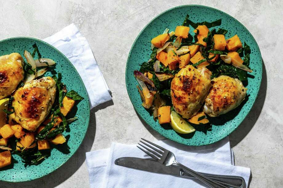 Roasted Chicken With Butternut Squash and Kale Photo: Laura Chase De Formigny / For The Washington Post / For The Washington Post