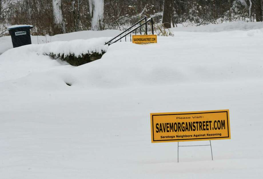 """Save Morgan Street.com"" signs are seen on lawns on Morgan Street across where Saratoga Hospital plans to build on Monday, Nov. 2, 2019 in Saratoga Springs, N.Y. (Lori Van Buren/Times Union) Photo: Lori Van Buren, Albany Times Union / 40048372A"
