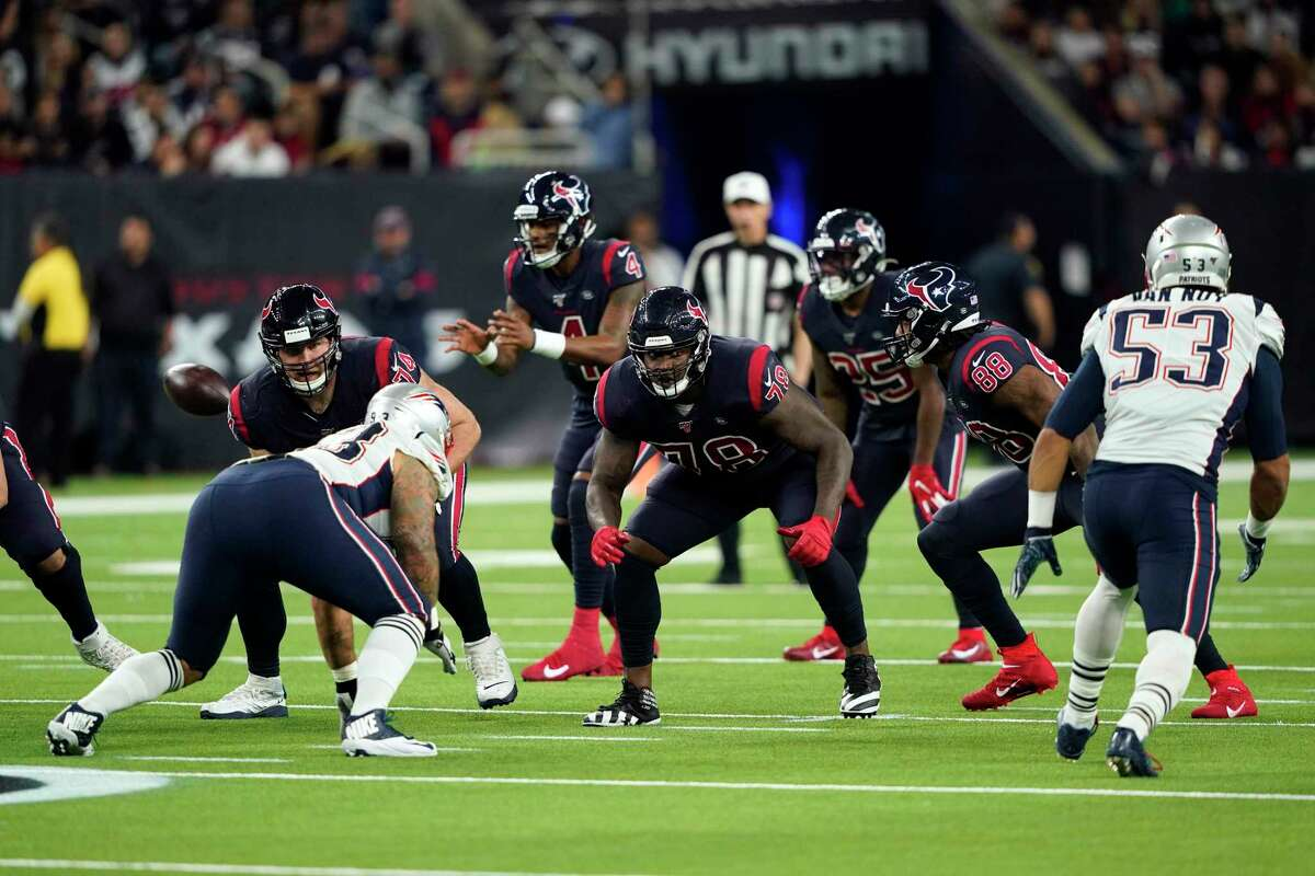 Houston Texans offensive tackle Laremy Tunsil (78) lines up against the New England Patriots during the second half of an NFL football game Sunday, Dec. 1, 2019, in Houston. (AP Photo/David J. Phillip)
