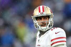BALTIMORE, MARYLAND - DECEMBER 01: Quarterback Jimmy Garoppolo #10 of the San Francisco 49ers looks on against the Baltimore Ravens at M&T Bank Stadium on December 01, 2019 in Baltimore, Maryland. (Photo by Rob Carr/Getty Images)