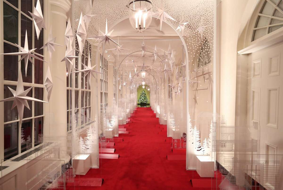 WASHINGTON, DC - DECEMBER 02: The East Colonnade is decorated for Christmas at the White House December 2, 2019 in Washington, DC. The White House expects to host 100 open houses and more than 30,000 guests who will tour the topiary trees, architectural models of major U.S. cities, the Gold Star family tree and national monuments in gingerbread. (Photo by Mark Wilson/Getty Images)