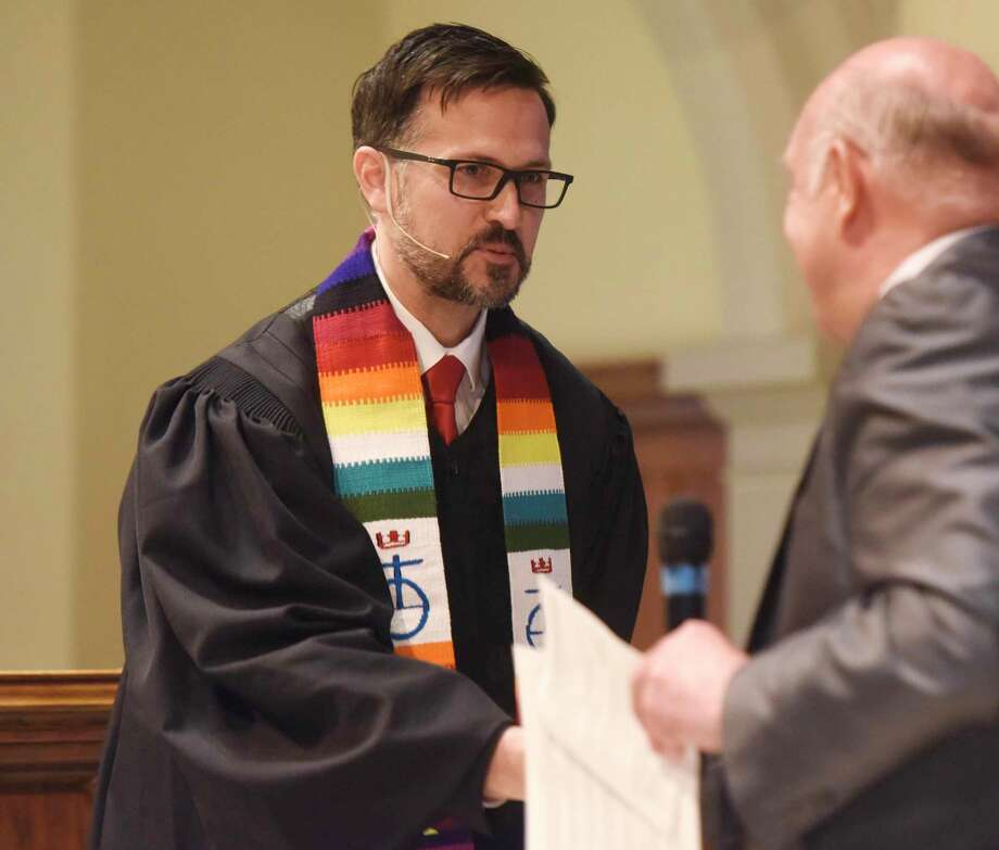 The Rev. Patrick Collins, Associate Pastor for Children, Youth and Families, is installed as a minister at First Congregational Church of Greenwich in April of 2017. It was announced Dec. 1 that the Rev. Patrick Collins, who has served as Associate Pastor since September 2016, will be the new Senior Pastor at FCCOG. Photo: Tyler Sizemore / Hearst Connecticut Media / Greenwich Time