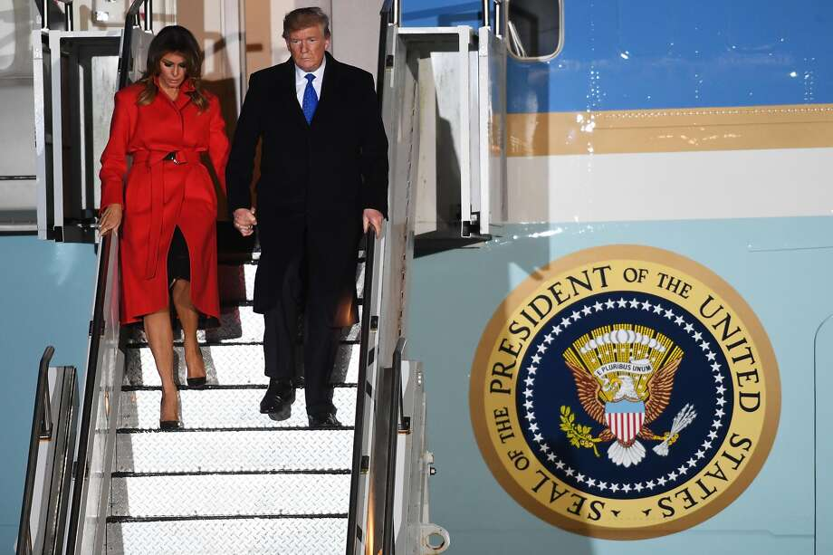 President Trump and First Lady Melania Trump arrive in Stansted, Essex, ahead of two days of meetings with NATO leaders. Photo: Chris J Ratcliffe / Getty Images