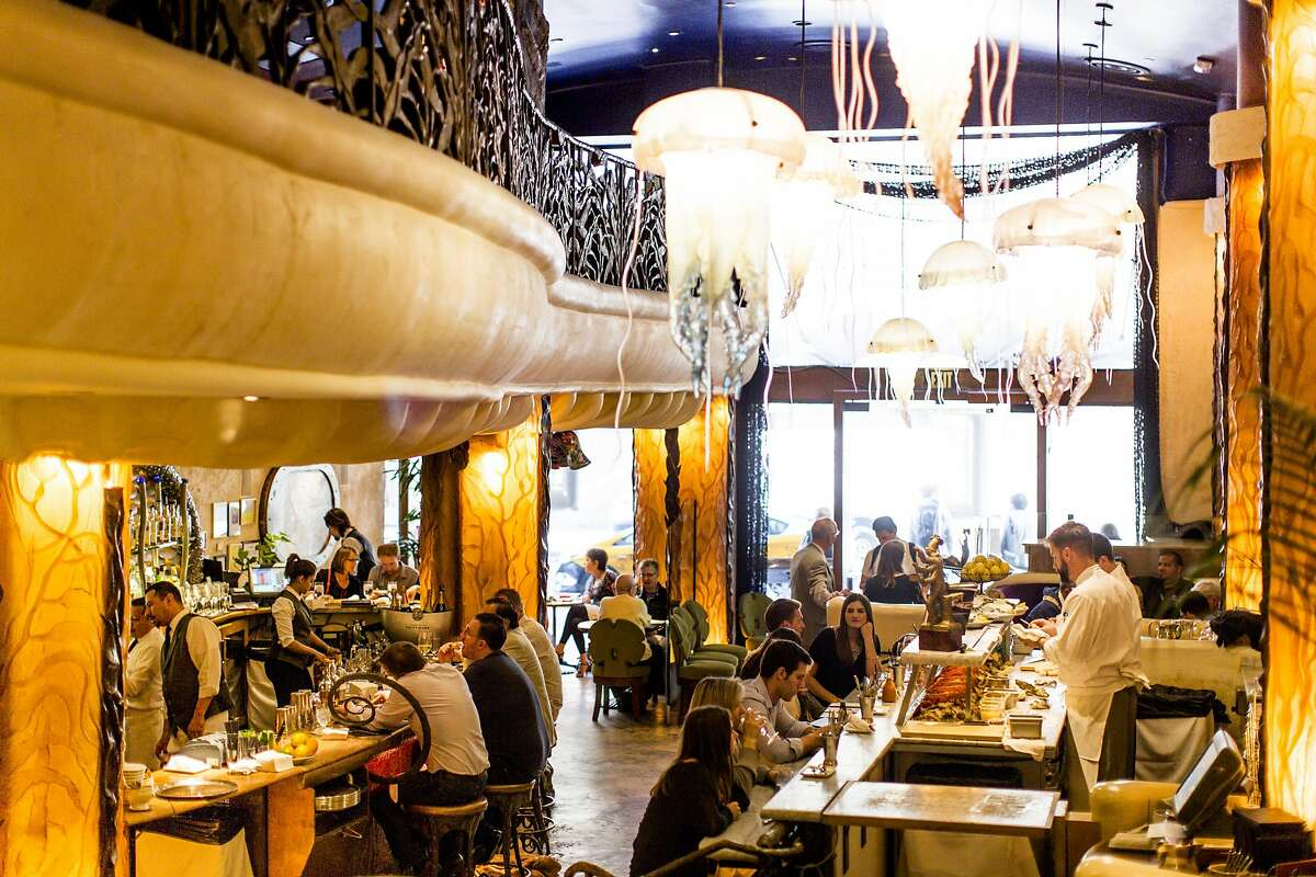 The Jellyfish�Lounge at Farallon, a seafood restaurant in San Francisco, California.