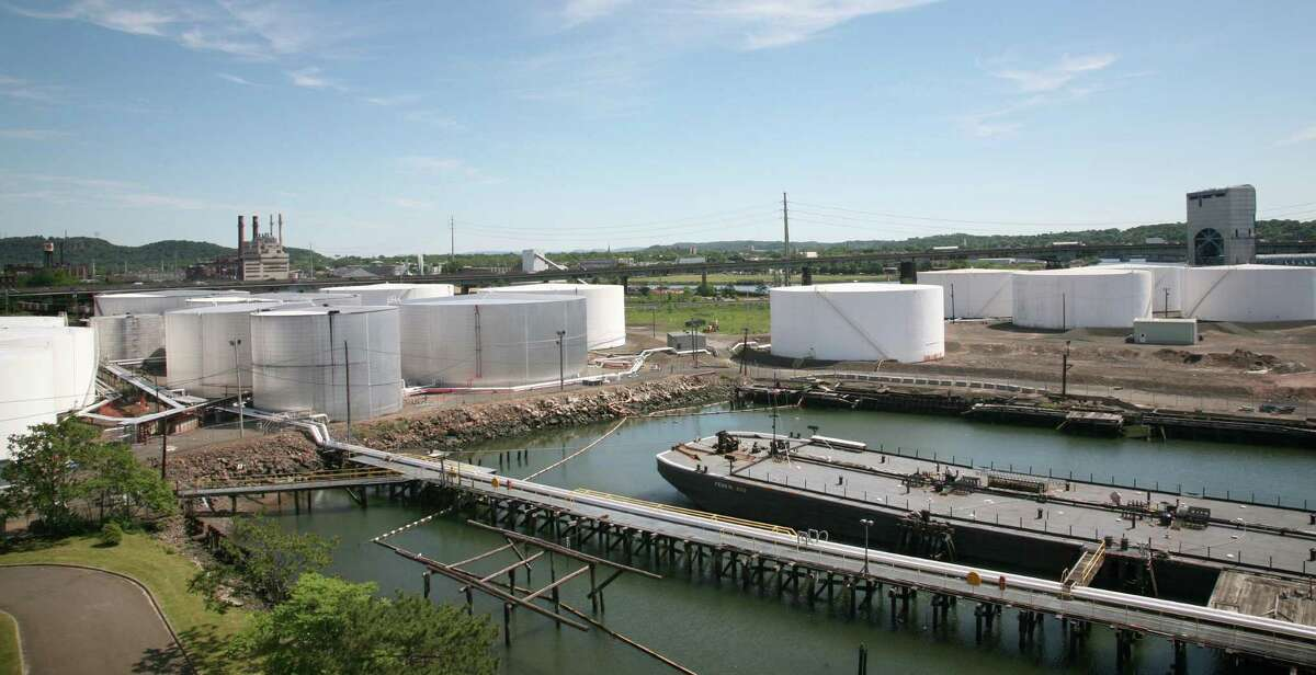 A view of the oil tanks in New Haven Harbor