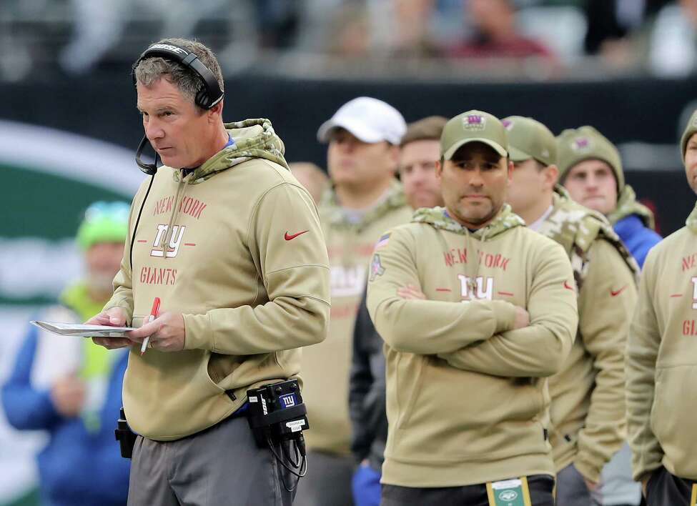 EAST RUTHERFORD, NEW JERSEY - NOVEMBER 10: Head coach Pat Shurmur of the New York Giants looks on from the side line interception the fourth quarter against the New York Jets at MetLife Stadium on November 10, 2019 in East Rutherford, New Jersey.The New York Jets defeated the New York Giants 34-27. (Photo by Elsa/Getty Images)