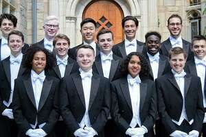 The Whiffenpoofs, seen here, will perform a holiday concert at the Palace Danbury, Dec. 15. Danbury's Martini Glass A Cappella will open the show.