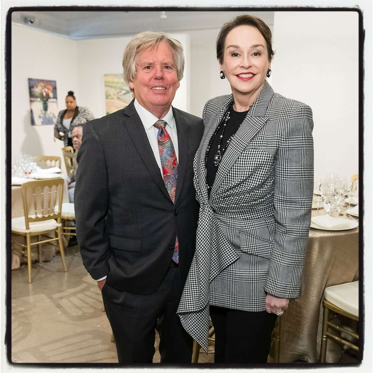 Artist Craig Nelson and Academy of Art University President Elisa Stephens at the Mayor Willie L. Brown, Jr. Portrait Unveiling and Luncheon. Nov. 27, 2019.