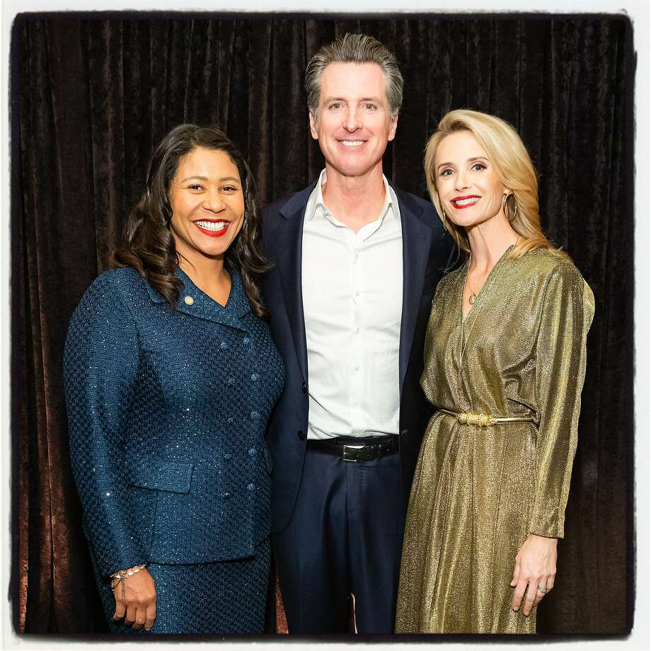 Mayor London Breed (left), Gov. Gavin Newsom and Jennifer Siebel Newsom at the Flip the Script Gala. Nov. 13, 2019. Photo: Drew Altizer / Drew Altizer Photography