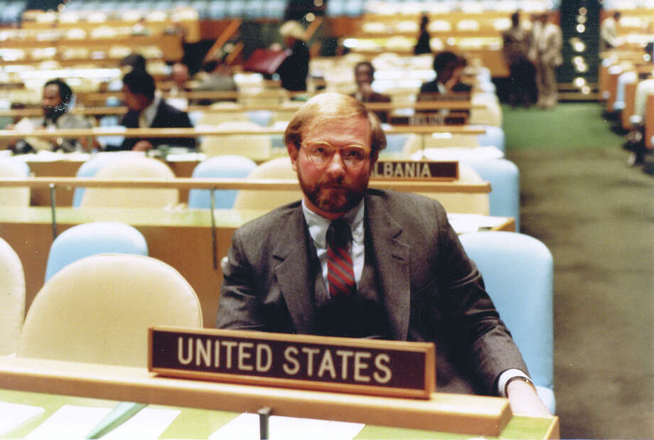 In this undated photo, Allan Gerson, who prosecuted Nazi collaborators, sits at the United Nations. He was counsel to the U.S. delegation to the U.N. from 1981 to 1986. Photo: Family Photo / Handout