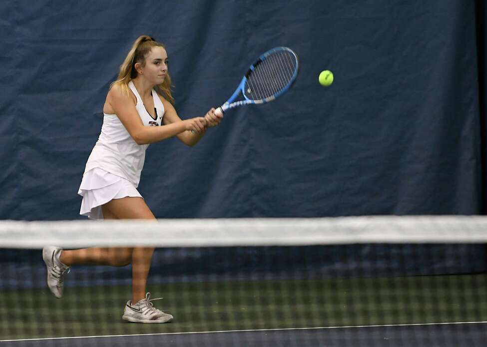 Guilderland's Katrina Setchenkov returns the ball in a singles match against Mohonasen's Loren Cuomo, who was representing Schenectady, during the Section II tennis finals at Sportime Schenectady on Tuesday, Oct. 22, 2019 in Schenectady, N.Y. (Lori Van Buren/Times Union)