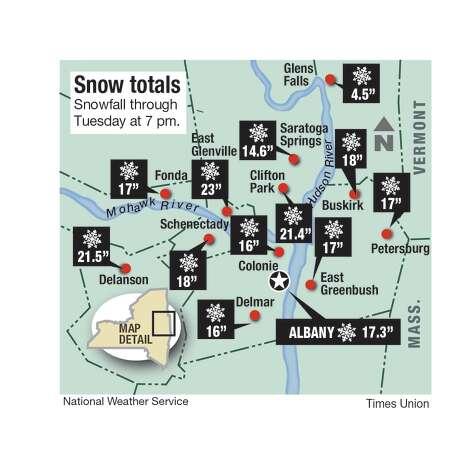 Snowfall totals for the Capital Region on Dec. 2, 2019. (Joyce Bassett / Times Union) Photo: Joyce Bassett / Times Union