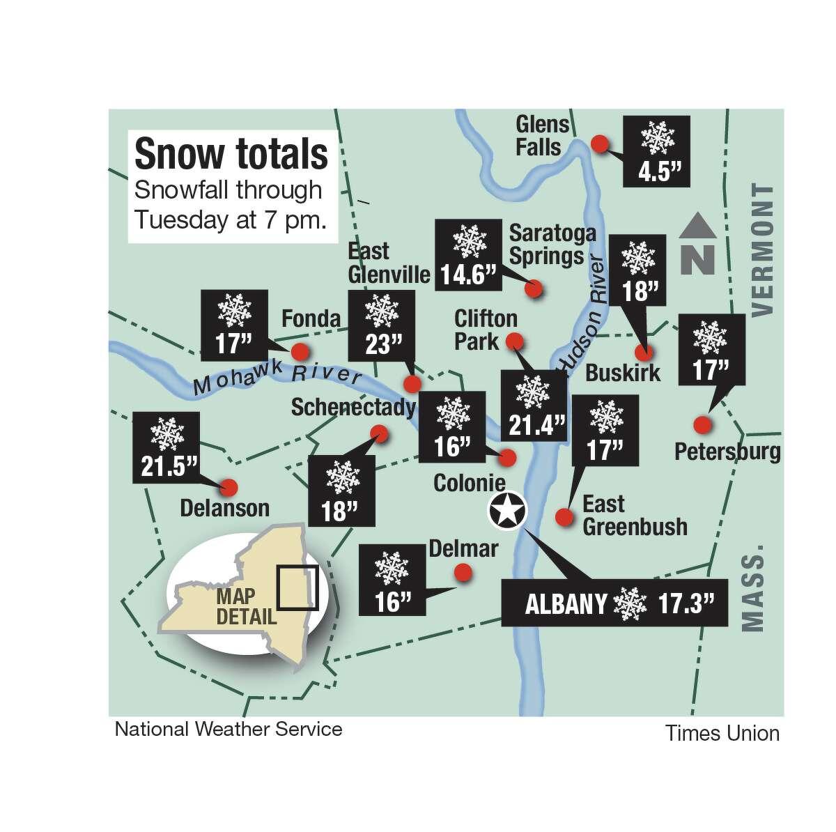 Snowfall totals for the Capital Region on Dec. 2, 2019. (Joyce Bassett / Times Union)