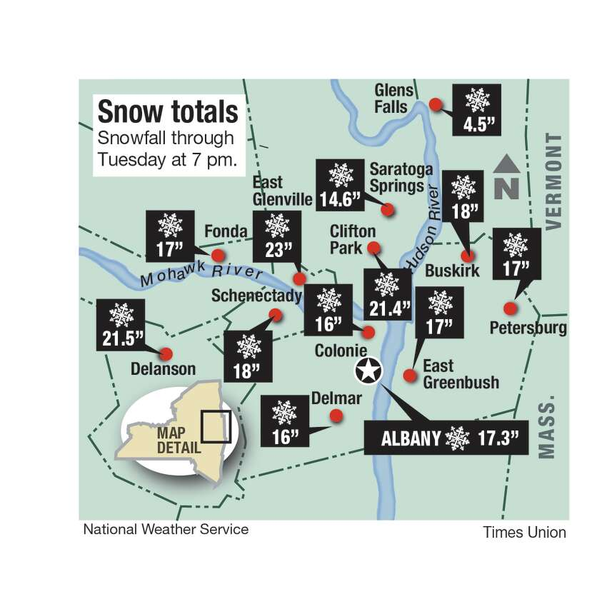 Snowfall totals for the Capital Region on Dec. 2, 2019. (Joyce Bassett / Times Union)
