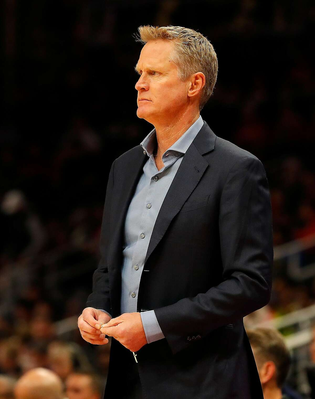 Head coach Steve Kerr looks on during the first half against the Atlanta Hawks at State Farm Arena on December 02, 2019 in Atlanta, Georgia. (Photo by Kevin C. Cox/Getty Images)