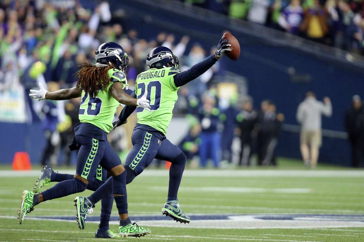 Seattle Seahawks strong safety Bradley McDougald (30) celebrates celebrates his fumble recovery in the fourth quarter of Seattle's game against Minnesota, Monday, Dec. 2, 2019 at CenturyLink Field.